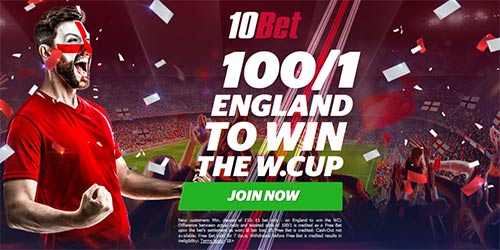 Get 100/1 England to win the World Cup at 10bet + £5 free bet