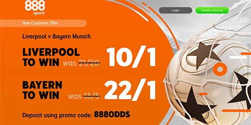 Get 10/1 Liverpool or 22/1 Bayern to win at 888Sport (Champions League Enhanced Odds)