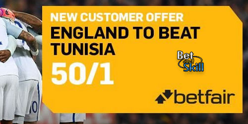 Get 50/1 England to beat Tunisia at Betfair (World Cup enhanced odds)