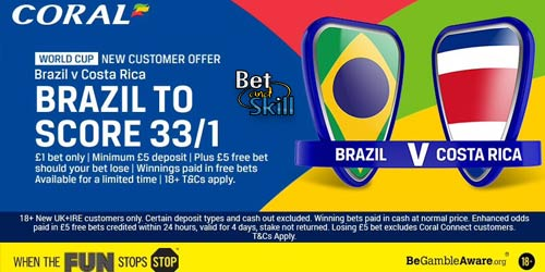 Get 33/1 Brazil to score a goal vs Costa Rica at Coral