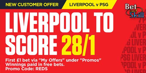 Ladbrokes offer 28/1 Liverpool to score vs PSG in Champions League