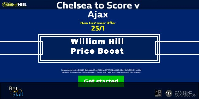Chelsea to score vs Ajax @ 25/1 with William Hill (Champions League boost)