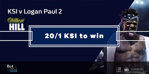 25/1 KSI to win vs Logan Paul with William Hill Enhanced Odds