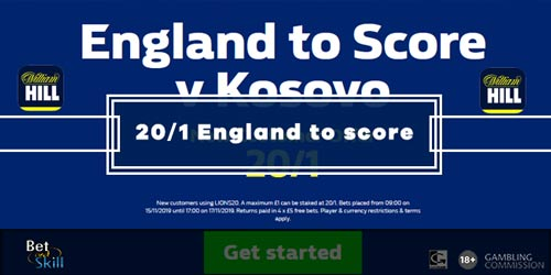 Claim 20/1 England To Score A Goal vs Kosovo at William Hill