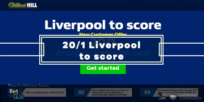 Get 20/1 Liverpool To Score vs Spurs with William Hill