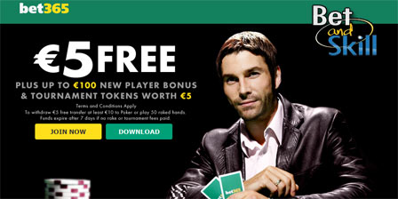 Bet365: Open a Poker account and get $5 Free (no deposit required)