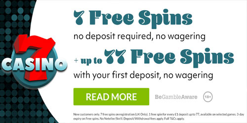 7Casino No Deposit No Wagering 7 Free Spins + Up To 77 Free Spins