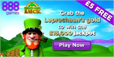Leprechaun's Luck video slot at 888games: 5 pound free for new players