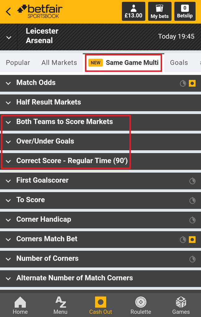 betfair same game multi betting guide
