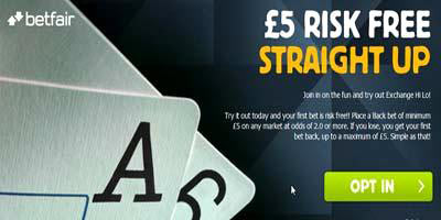 Betfair Exchange Games: 5 pound risk-free bet