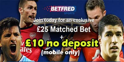 10 pound free bet at Betfred.com!  No deposit required! (Mobile Only)
