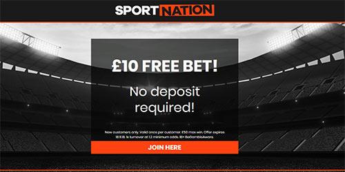 SportNation £10 No Deposit Free Bet - Start Betting Without Risk!