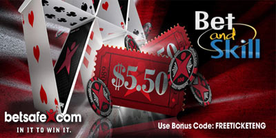 Betsafe Poker: Free $5.50 Tournament Ticket for all new players