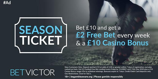 BetVictor New EPL Season Offer: £2 Free Bet Every Weekend!