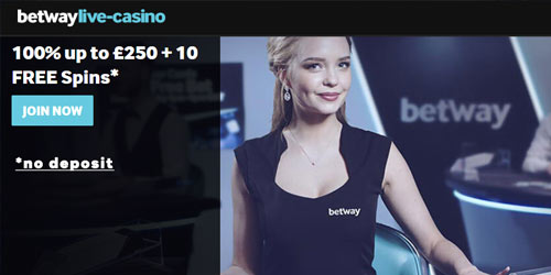 Betway Live Casino £250 Bonus + 10 No Deposit Free Spins