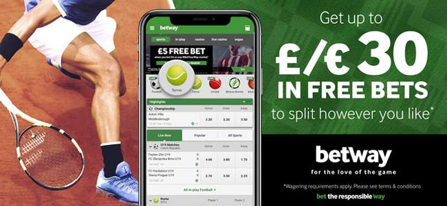 betway free bet on tennis