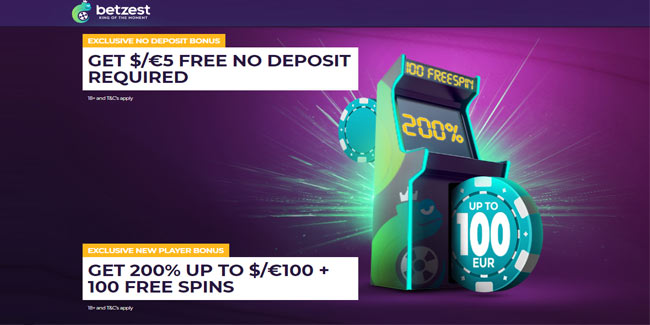 Betzest Casino $/€5 No Deposit Bonus + 200% Up To $/€100 + 100 Free Spins