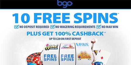 BGO Casino 10 No Deposit Free Spins. No Wagering, No Max Win!