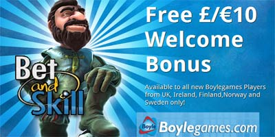 Boylegames: Free €/£10 new player bonus. No deposit required!
