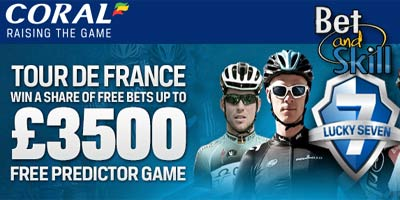 Coral Lucky 7: Free predictor game on Tour De France. Win up to £3500