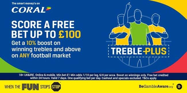 Coral Treble Plus - Get 10% Bonus If Your Acca Wins