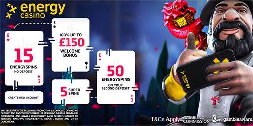 Energy Casino 15 No Deposit Free Spins + £150 Welcome Bonus