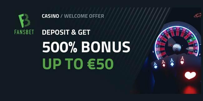FansBet Casino Offer - 100% bonus up to £200