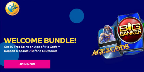 GalaBingo 10 No Deposit Free Spins on Age Of The Gods + Play £10 Get £30