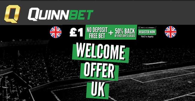 Quinnbet No Deposit Free Bets - £1 or €10 For UK & Irish