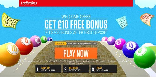 Ladbrokes Bingo: £10 Free No Deposit Bonus
