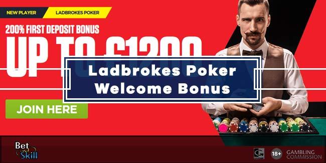 Ladbrokes Poker 200% Bonus up to £1200 + Freeroll Tickets