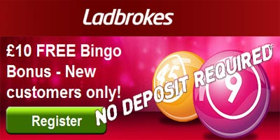Ladbrokes Bingo: £10 free (no deposit required), 500% bonus and 6 hours of free bingo