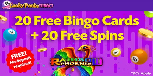 Lucky Pants 20 Free Bingo Cards + 20 No Deposit Free Spins