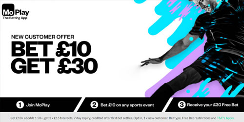 MoPlay Bet £10 Get £30 In Free Bets - No Bonus Code Required