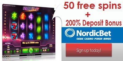 NordicBet Casino: 50 free spins (no deposit required) + 200% Deposit Bonus
