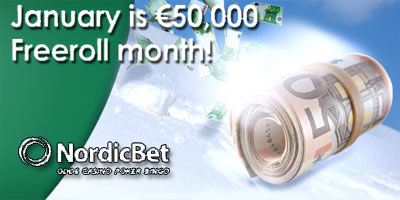 NordicBet Poker: €50,000 in Freerolls and €50k Rake Race this January