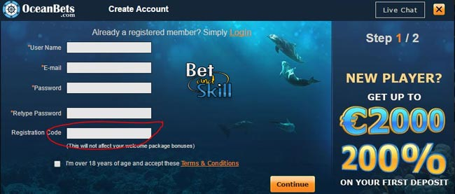 oceanbets casino registration bonus