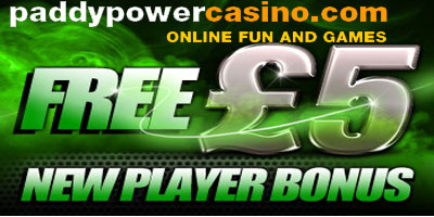 PaddyPower Casino: Free 5 pound bonus available to new players