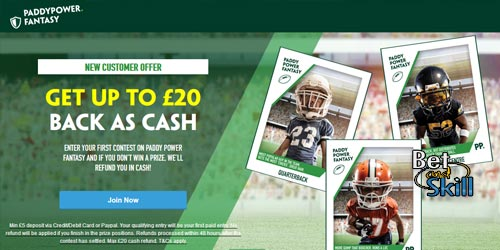 Paddy Power Daily Fantasy Sports Bonus - Up to £20 Back As A Cash