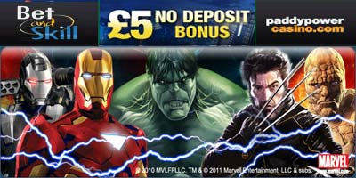 Paddy Power Casino: Play your favourite Marvel Slots with a £5 free no deposit bonus