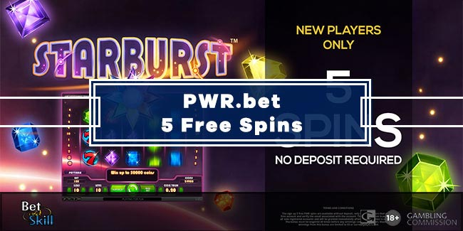 PWR.bet Casino 5 Free Spins No Deposit on Starburst