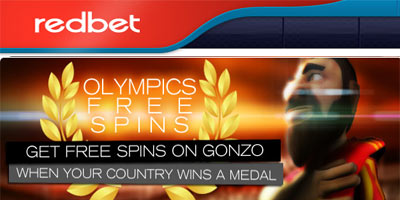 Olympic free spins on Gonzo's Quest slot with Redbet Casino