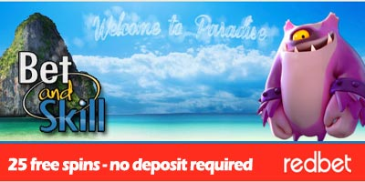 Redbet Casino: 25 free spins no deposit required + 100 free spins + 1000€ vacation