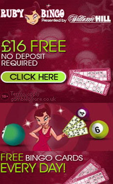 Bonus bingo no deposit: 16 pound for free on Ruby Bingo
