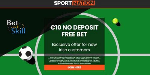 SportNation €10 No Deposit Free Bet For New Irish Customers