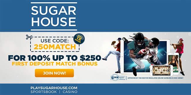 SugarHouse $250 Bonus For Sportsbook & Casino (Promo Code: 250MATCH)