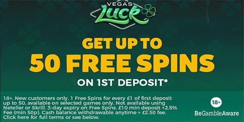 Vegas Luck 50 Free Spins No Wagering Requirements & No Max Win