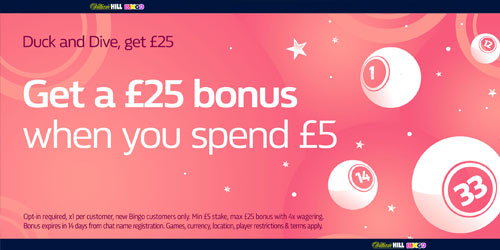 William Hill Bingo Bonus Code: Spend £5, Get £25