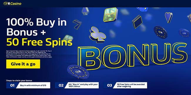 William Hill Casino 100% Bonus up to £300 On First Buy-In + 50 Free Spins