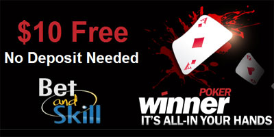 Winner Poker sign-up bonus: $10 free (no deposit required) to all new poker players